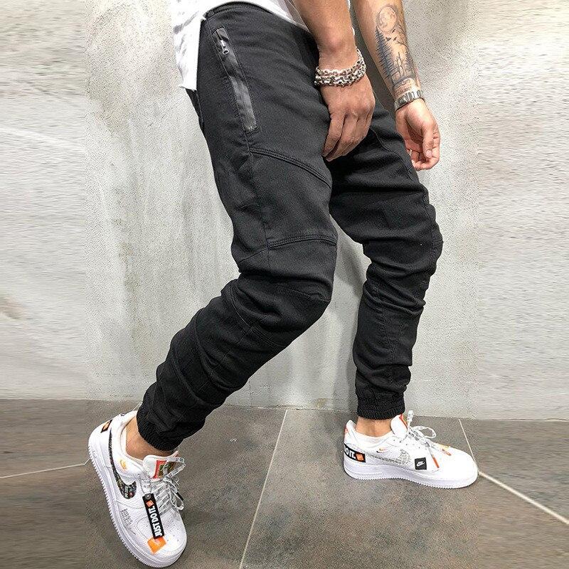 GYMPXINRAN Men Pants Fashion Splicing Multi Pocket Harem Joggers Pants 2019 Male Trousers Mens Joggers Solid Pants Sweatpants