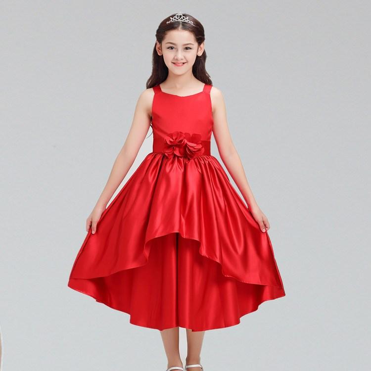 High-grade Red Sleeveless Elegant Flower Girls Wedding Party Dresses Kids Baby Tutu Birthday Holy Dress Children Fashion Costume dz677 new fashion high grade party