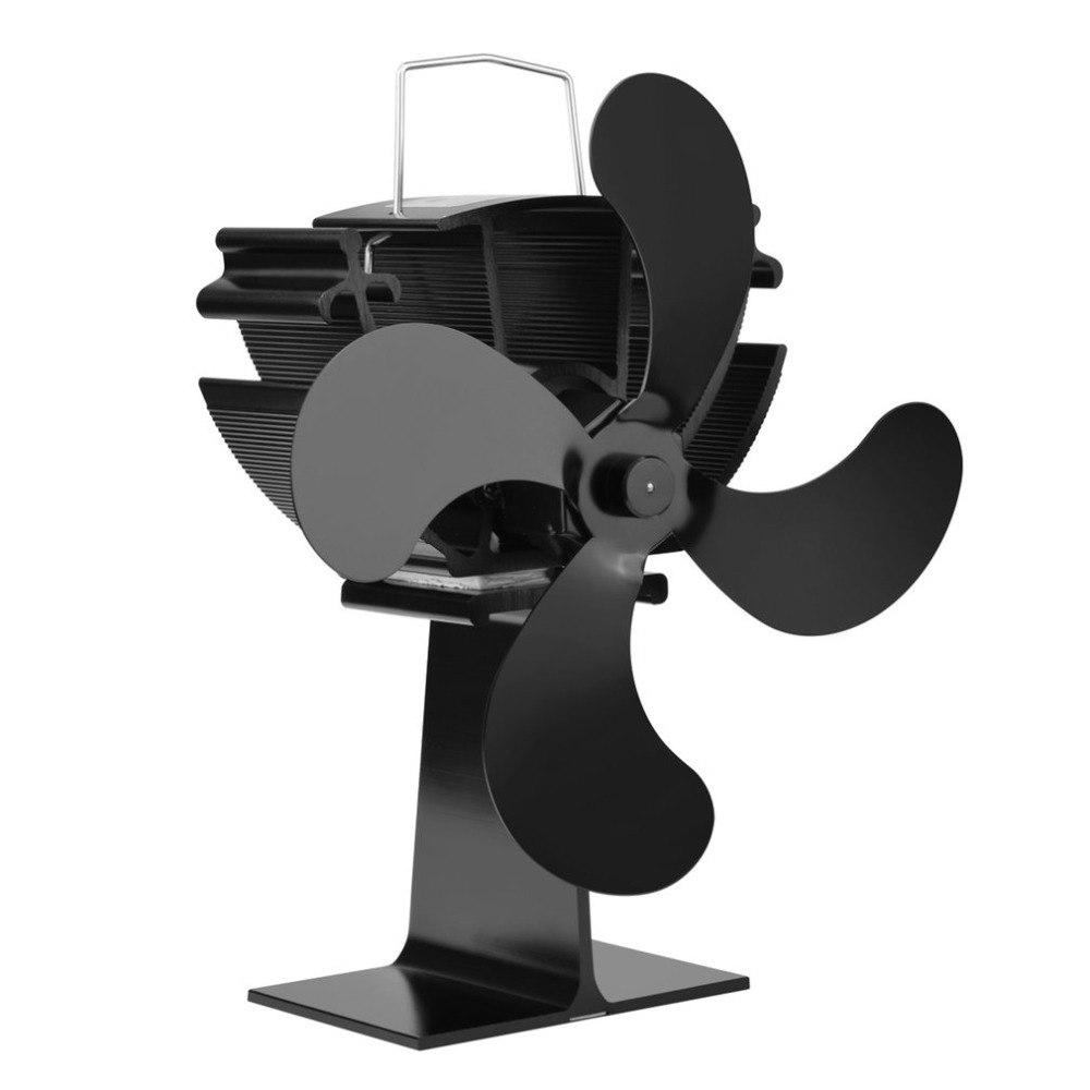 4 Blades Heat Powered Stove Fan No Electronic Needed Aluminum Heat Powered Stove Fan Heat Up Fireplace Fan Wood Burning Fan