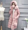 Gamuza de piel de oveja abajo de la capa natural de piel de zorro chaqueta de color rosa de cuero genuino de las mujeres de cuero de moda cuello de piel Nueva Phoenix
