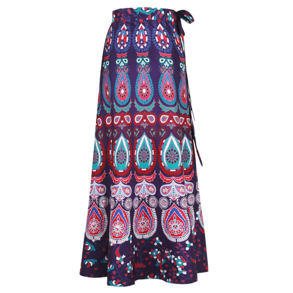 2019 African Print Skirts Women Ladies High Waist Summer Bohemian Ethnic Boho Beach Skirt Floor Length Long Maxi Wrap Skirt Saia
