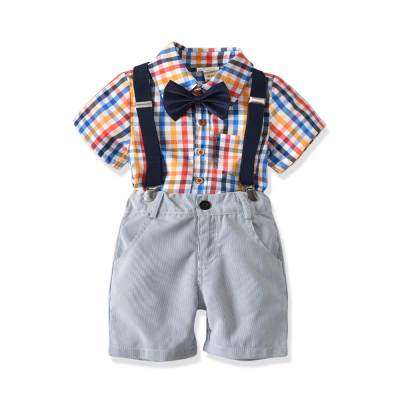 Children Sets Toddler Boys Summer Clothing Cotton Plaid Shirt + Shorts + Bow + Suspender 4pcs Kids Boy Party Clothes 18M-6T SW ...
