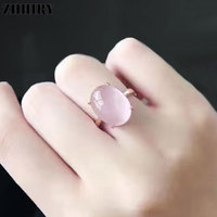 ZHHIRY Women Genuine Natural Rose Quartz 925 Sterling Silver Rings Big Gemstone Ring Real Fine Jewelry