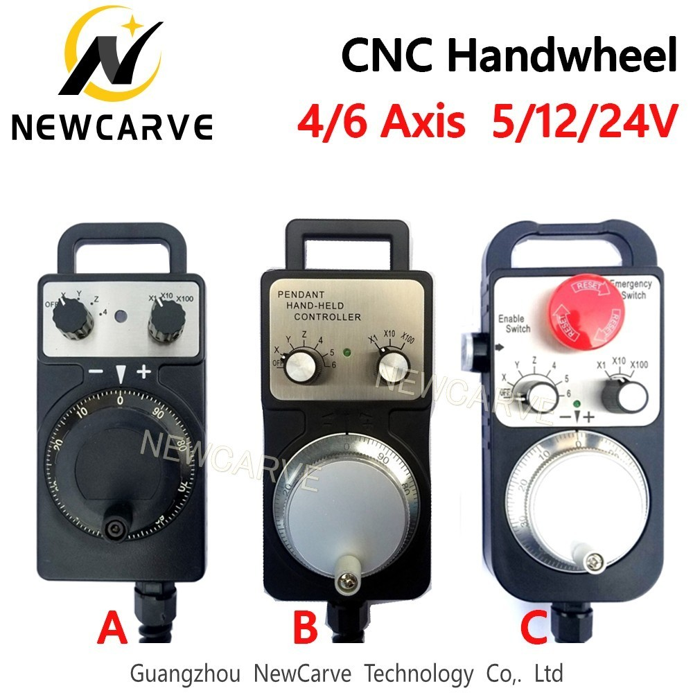 4 6 Axis MPG Universal Pendant Handwheel Manual Pulse Generator 5V 12V 24V With Emergency Stop For CNC Router Machine NEWCARVE