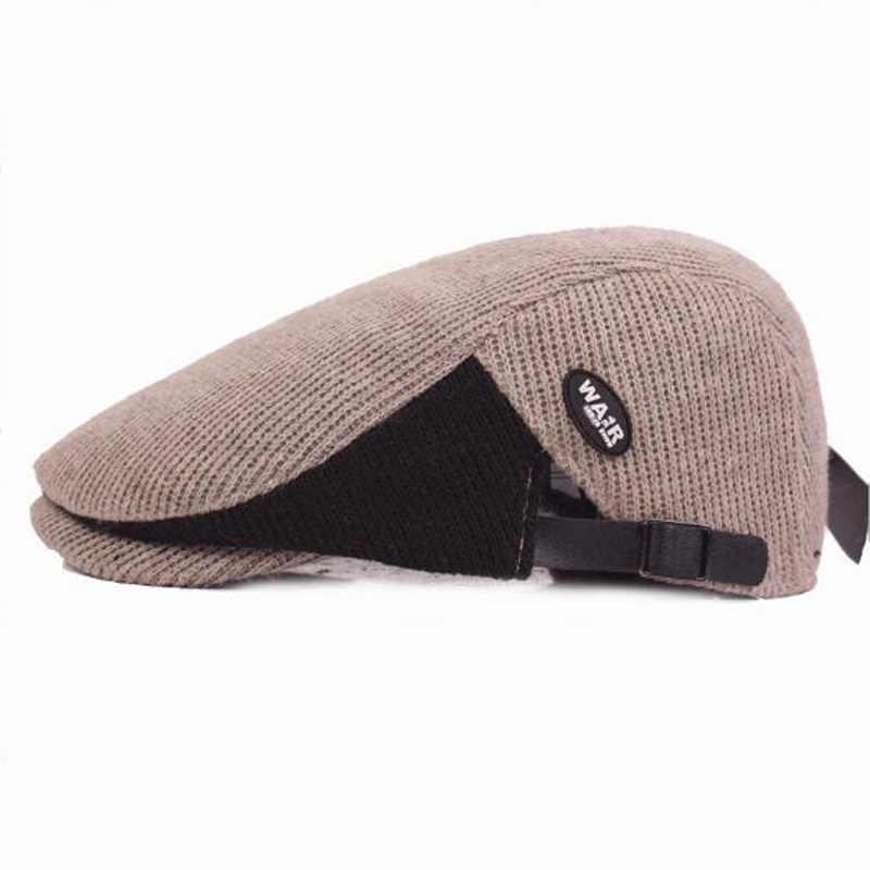 f0e04c74843 ... 2017 New Patchwork Color Beret Boina Hats for Men Winter Berets Good  Quality Cotton Flat Caps ...