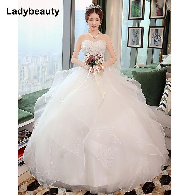 Nieuwe elegante prinses trouwjurken 2018 Sweet baljurk Lace Up Back - Trouwjurken - Foto 3
