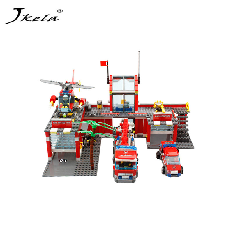 [hot] 774Pcs Legoings City Fire Station Truck Helicopter Firefighter Minis Building Blocks Bricks Brinquedos Toys For Children стоимость