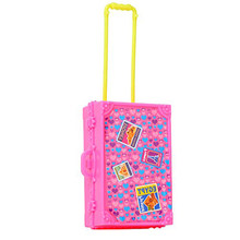 Saleaman 3D Cute Kid Child Travel Train Suitcase Luggage Doll House Dress Gift Toys Dollhouse Furniture Doll Toys For Children(China)