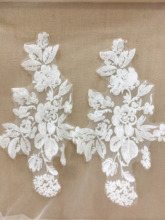 10 pieces /lot  Clear sequin cotton floral embroidery lace applique in off white , bridal veil patch wedding motif