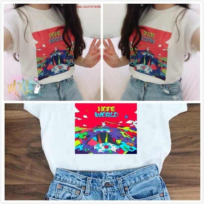 Hahayul1 шт белая футболка крутая Мода Мир Хоуп J Hope Mixtape Hixtape/BTS Kpop короткий рукав Топ