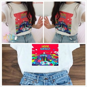 hahayul1PCS White Tshirt Cool Fashion Hope World J-Hope Mixtape Hixtape // BTS Kpop T-shirt T-Shirt Short Sleeve Top Tee Cotton(China)
