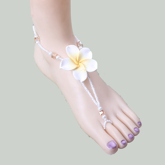Unique Ivory Pearl Barefoot Sandals Hengcreation Soft Flower Gold