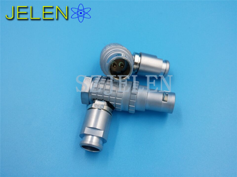 Lemo 90 degree elbow 0B 2pin connector plug , FHG.0B.302.CLAD, Medical device power connector plug 3pcs aviation bend angle fhg plug 1b 90 degree angle elbow connector
