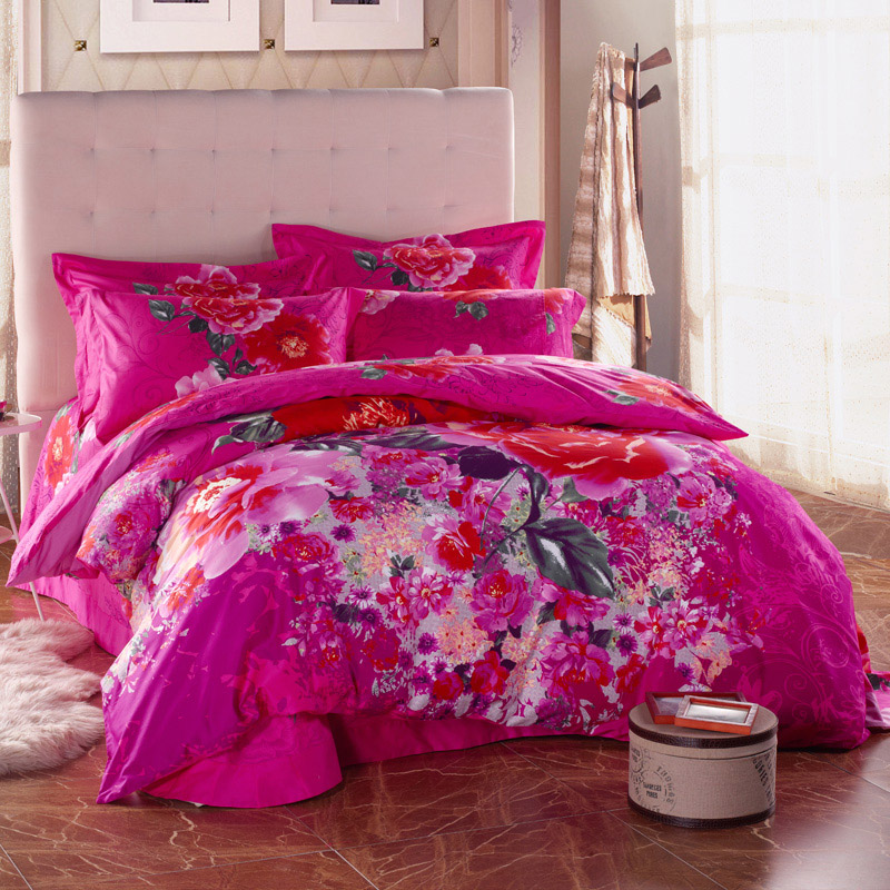 watercolor floral print rose and daisy deep pink bedding set queen size king size duvet cover