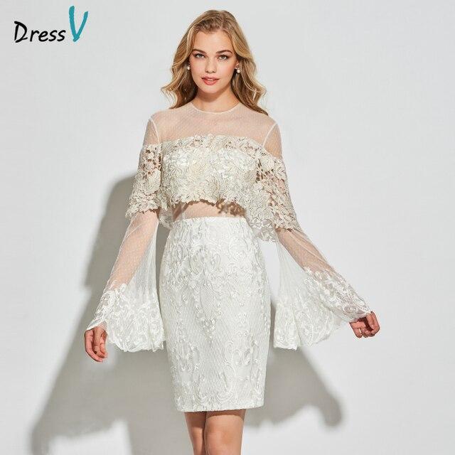 0e8ffa2c2bbc Dressv bianco tulle abito da cocktail scoop neck maniche lunghe elegante di  lunghezza del ginocchio della
