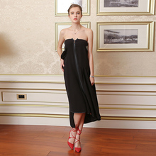 VOA 2017 Summer New Silk Solid Swallowtail Skirt Fashion Black Plus Size Women Clothing Loose Casual Maxi Skirt vestido C7682