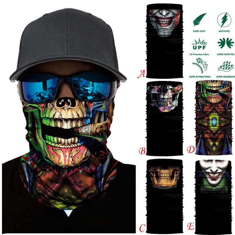 Skull Face Mask Scarf Ski Mask Ghost Balaclava Masks Cycling Head Scarf Neck Halloween Party Face Mask Wholesale 30ST02 купить в Москве 2019