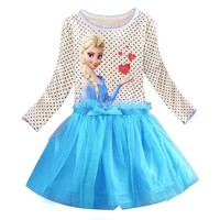 Summer Baby Girl Dress Princess Vestidos Fever 2 Anna Elsa Dress Birthday Party Dress Children Clothing