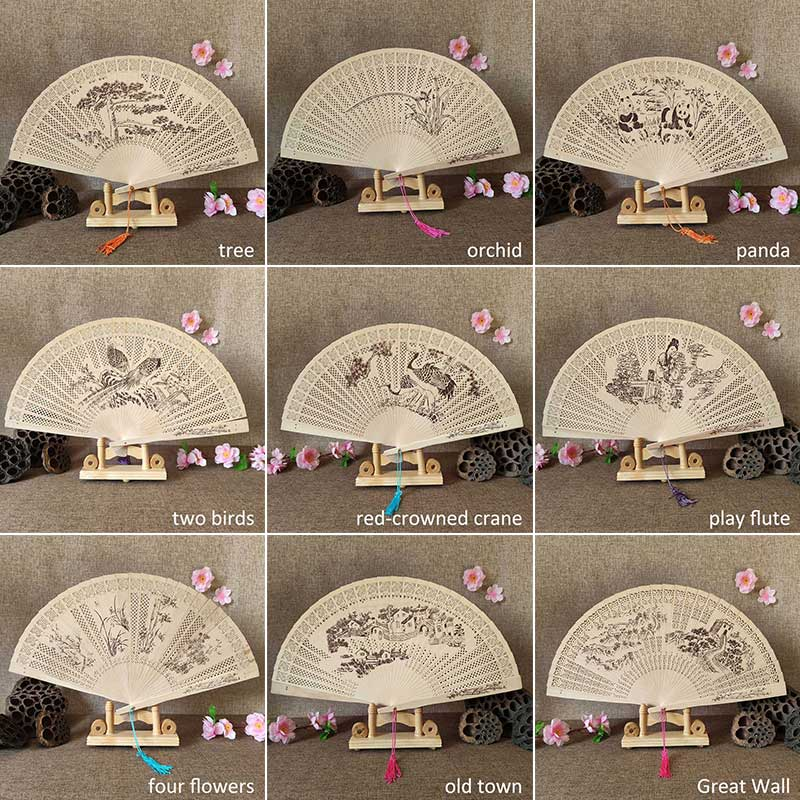 1Pcs Chinese Wood Carving Printing Vintage Antique Craft Fan Incense Wood Lady Folding Fan