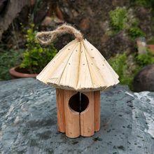 Fir Cone Bird House Wooden Birds Nest Handmade Wood Crafts With Rope Lanyard Hanging Birdhouse