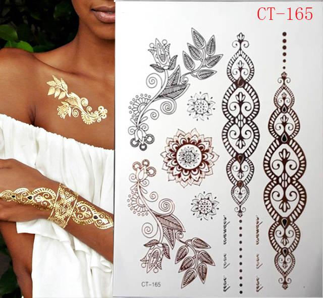 Online Shop 2017 Sale Flash Gold Metallic Henna Fake Body Stocking