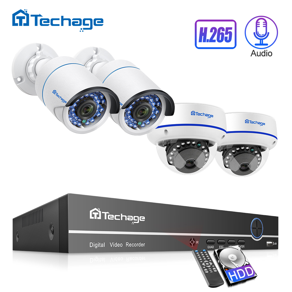 Techage H 265 8CH 1080P POE NVR Kit CCTV Security System Dome Indoor Outdoor 2 0MP