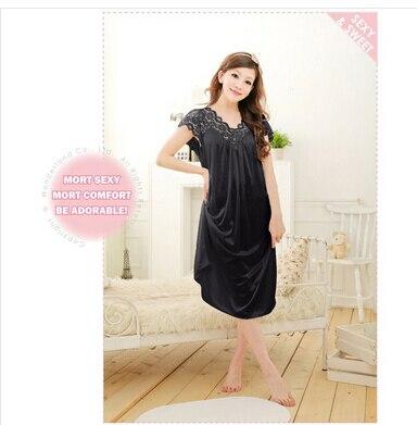 Free shipping women White lace sexy nightdress girls plus size Large size Sleepwear nightgownY02-1 3