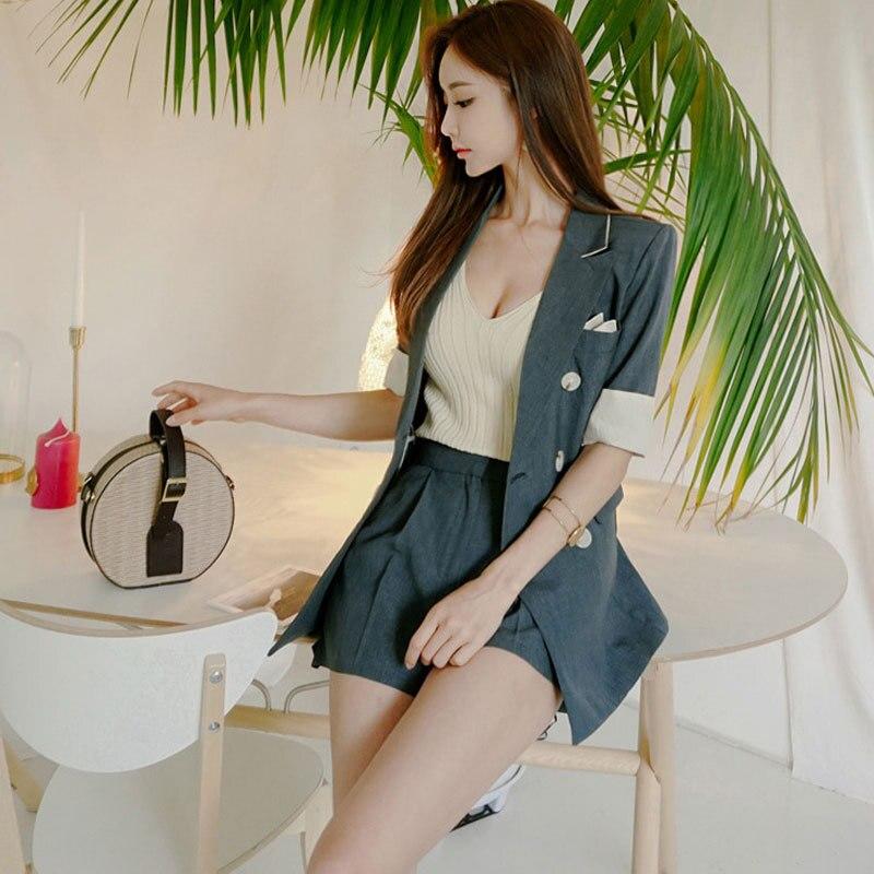 Womens suits set 2 pieces Pants suit elegant Korean fashion short-sleeved jacket female Casual shorts ladies 2019