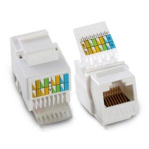 Image 4 - RJ45 Cat5e Cat6 UTP Keystone adaptateur de connecteur de prise femelle pour plaque murale paire hissée RJ 45 réseau Internet Ethernet Lan câble