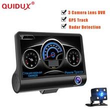 Quidux 4.0 дюймов 3 в 1 Автомобильный видеорегистратор с двумя объективами три камеры с Антирадары GPS цикл видео заднего вида dashcam видеокамера радар Скорость