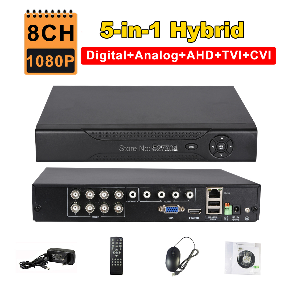 CCTV 8CH AHD 1080P DVR IP NVR TVI CVI Analog 5-IN-1 Hybrid HVR 2MP Video Recorder HDMI 3G WIFI ONVIF P2P RS485 Motion Detection cctv dvr hvr 16ch ahd nvr 2mp 1080p hybrid digital video recorder rs485 audio in audio out for network ip camera cctv camera