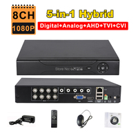 CCTV 8CH AHD 1080P DVR IP NVR TVI CVI Analog 5 IN 1 Hybrid HVR 2MP Video Recorder HDMI 3G WIFI ONVIF P2P RS485 Motion Detection