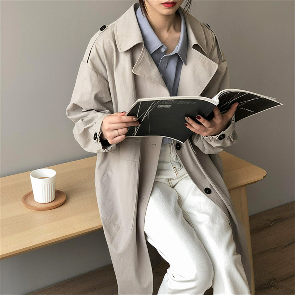 Vintage Cotton Women Coat 2019 Autumn Women's Casual Trench Coat oversize Single Breasted Washed Outwear Loose Clothing 68501 (14)