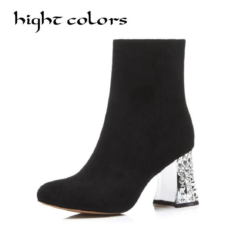 2018 Zipper Autumn Shoes Women Flock &Leather Fashion Boots Ladies Thick High Heel Ankle Boots Party Rhinestone Shoes Size 34-43 weiqiaona european 2018 women new fashion show leather snake skin rhinestone flowers high heel sandalss sexy ladies party shoes