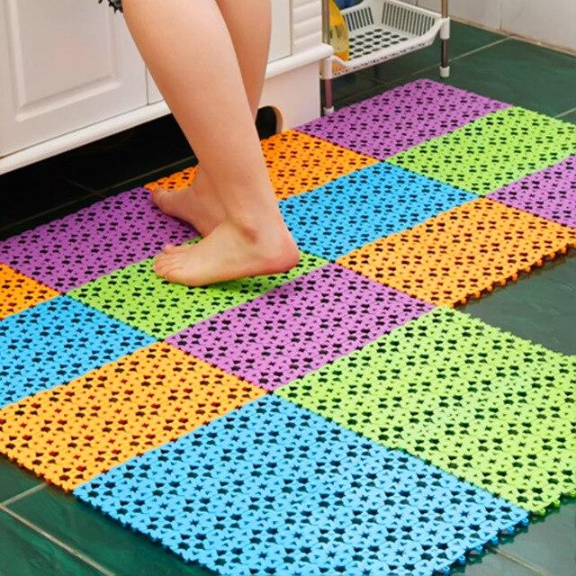NC Slip Resistant Heart Shaped Mosaic PVC Bath Mat Home Bathroom ...