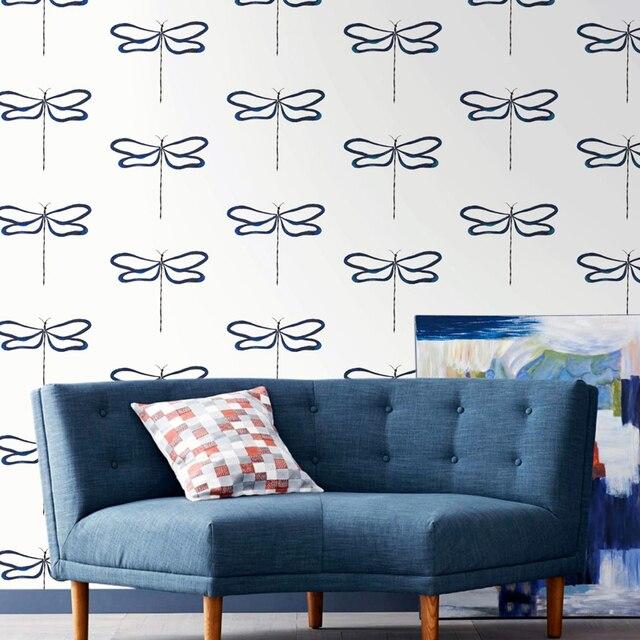 Modern Dragonfly Animal Wallpaper Blue For Boys Kids Room Walls Bedroom Wall Paper Roll