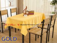 Gold Colour Jacquard Rectangle Square Wedding Table Linens Damask Table Cover For Wedding Hotel Tables Decoration