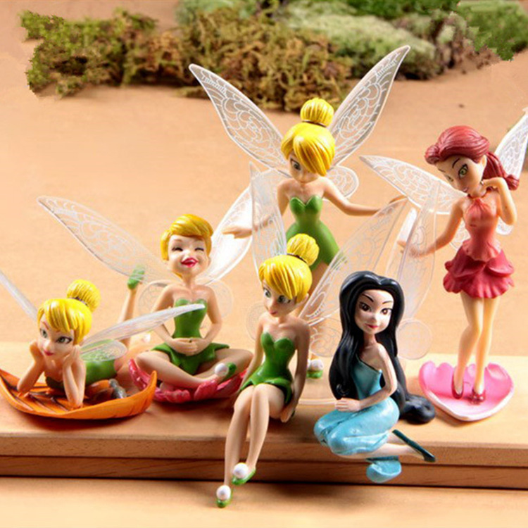 Toys & Hobbies 6 Pcs/set Fashion 10cm Christmas Kids Gift Tinkerbell Dolls Flying Flower Fairy Children Animation Cartoon Girls Safety Pvc Toys To Reduce Body Weight And Prolong Life