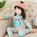 Estilo de varejo 2017 Outono roupas Infantis conjuntos de Roupas de Algodão Azul Da Coruja 2 pcs (Manga Completo + Calças) Bebê roupas Frete Grátis