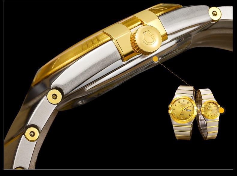 GUANQIN Gold Couple Watches Men Automatic Mechanical Watch Women Quartz Watch Luxury Lover Watch Waterproof Fashion Wristwatches (15)