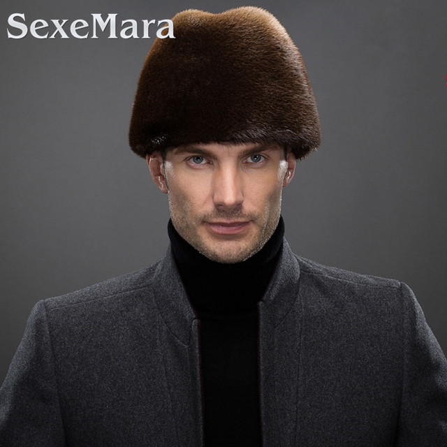 100% Real Mink Fur Cold Winter Male Gentleman Cap Furs Hat Man Outside Warm Mink Fur President Caps