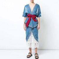 Summer 2019 Sexy Women Denim Long Dress two piece Runway Designer V neck Backless Ruffle Sash Wrap Dress Jeans Clothes