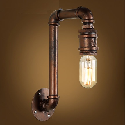 Loft Style Iron Edison Wall Sconce Creative Art Water Pipe Lamp Industrial Vintage Wall Light Fixtures Indoor Lighting american country industrial style wall lights loft 3 heads water pipe wall sconce vintage bronze wall lamp iron art lustre