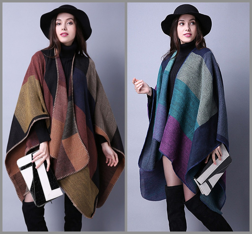 Women's Autumn/Winter Poncho Vintage Blanket Women Lady Knit Shawl Cape Cashmere Long Scarf Poncho Cardigans H190