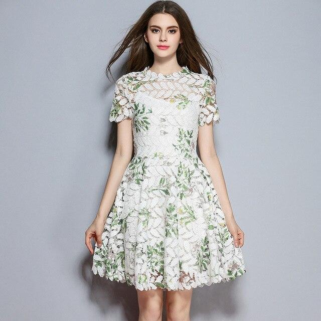 New Summer Female Office Dress High End Flower Mid Waist Slim Brand