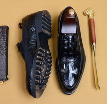 Men Crocodile Shoes Slip-on Dress Shoe For Male Genuine Leather Wedding Office Party Handmade Oxford Shoes