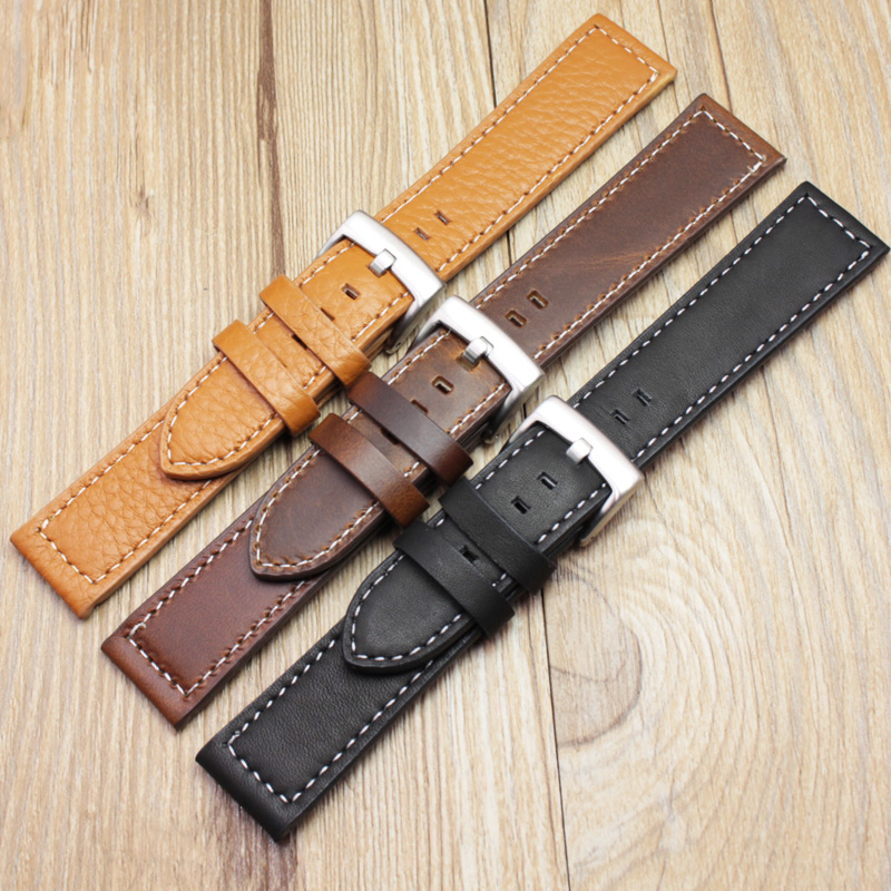 HENGRC 18 20 22mm Genuine Leather Watch Band Strap Manual Men Thick Brown Black Watchbands Stainless Steel Buckle Accessories black khaki genuine leather watch band strap pin buckle bracelet watchbands 18 20 22mm durable pd0134