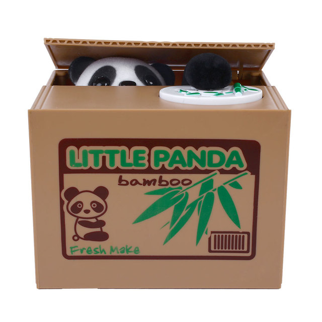 2015*Cute Automatic Stealing Coin Panda Kitty Penny Cents Piggy Bank Saving Box Kids Child Present Gift