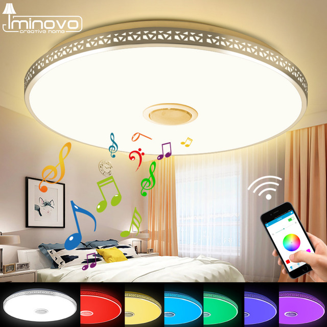 Modern Bluetooth Speaker Ceiling Light Remote Control RGB LED Music Lamp Dimmable Living Room Lighting Fixture Bedroom Smart