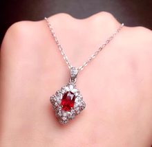 Fine Jewelry Real Pure18 K Gold Jewelry Natural 100% Ruby 0.72ct Gemstone Pendant Diamonds Pendant Gemstone Necklaces for Women(China)